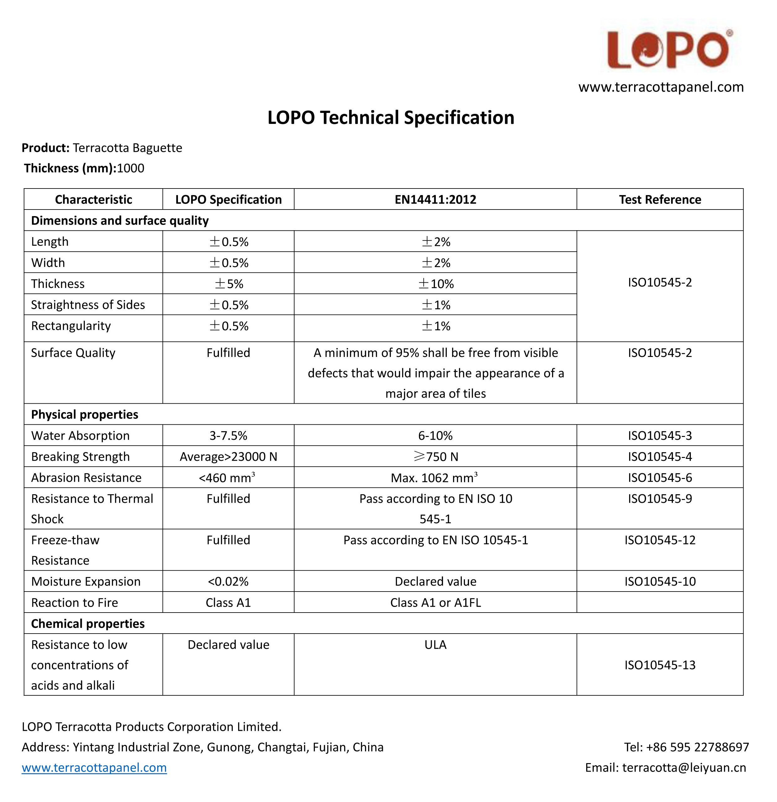 Technical Specification of Terracotta Baguette